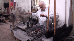 Carpet weaving workshop in Iran Footage