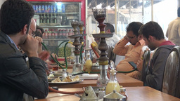 Restaurant, Smoking Waterpipe, Iran stock footage