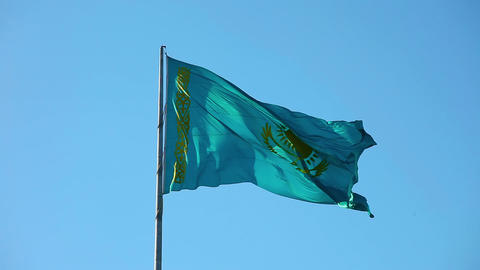 Flag Of Kazakhstan stock footage