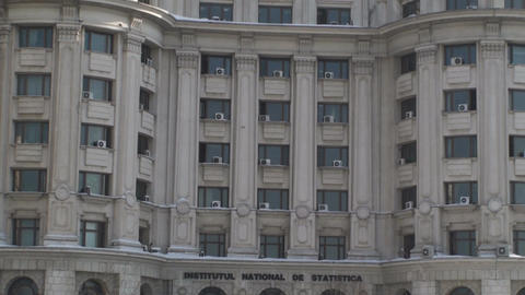 Statistics Institute Building In Bucharest Close U stock footage