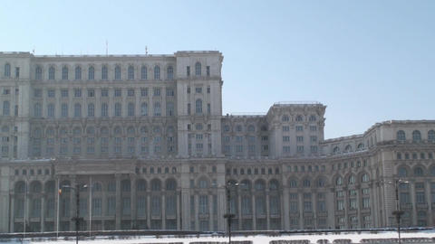 House Of Parliament In Bucharest Pan-Shot Footage