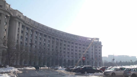 Ministry Of Justice Building In Downtown Bucharest Footage