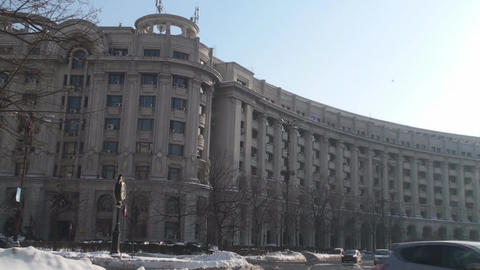 Ministry Of Justice Building In Downtown Bucharest stock footage