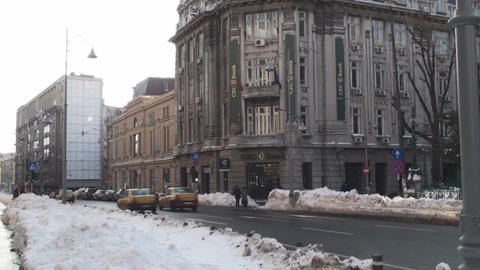 The New CEC Bank In Downtown Bucharest Tilt-Shot stock footage