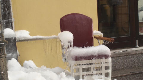 Frozen Barbershop Chair Still-Shot stock footage