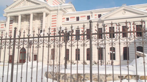 Historical Hospital In Downtown Bucharest Pan-Shot stock footage