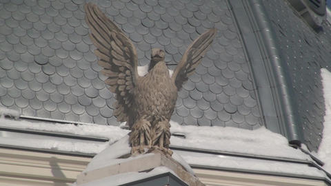 Eagle Statue On Historical Hospital In Downtown Bu Footage