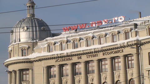 Academy Of Economic Study In Bucharest Close Up-Sh Footage