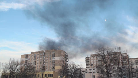 Apartment Blocks On Fire Still-Shot stock footage