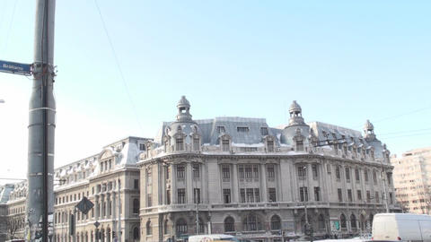University Of Bucharest With Traffic Still-Shot stock footage