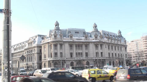University Of Bucharest With Traffic Tilt-Shot Footage