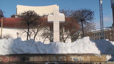 Massive Stone Cross Still-Shot Footage