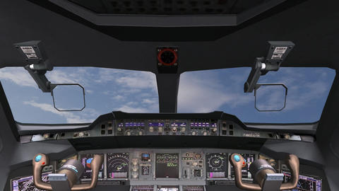 Aircraft cockpit,high-tech dashboard,Pilots operating plane Animation