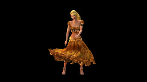 dancer dancing merrily on dance floor.dress&gold skirt with colorful stage l Animation