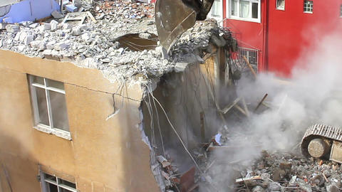 Demolition of building with concrete floors and pi Footage