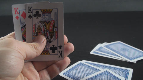 Hand Giving 3 Cards To The Dealer Point Of View-Sh Footage