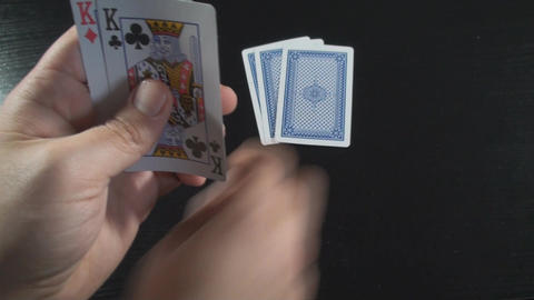 Hand Giving 3 Cards To The Dealer Above-Shot stock footage