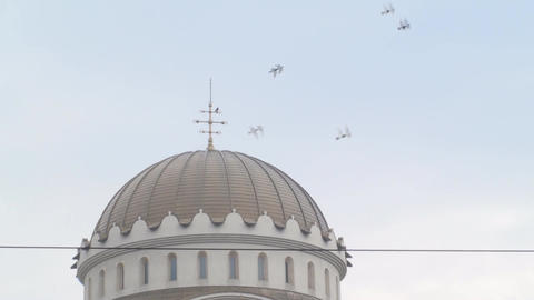 Orthodox Church Roof With Birds And A Beautiful Sk stock footage