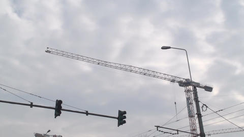 Cranes In The Sky Pan-Shot stock footage