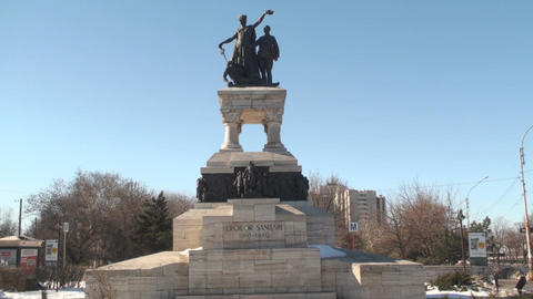 Sanitary Heroes Statue In Bucharest Still-Shot Live Action