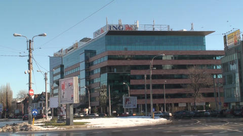 Office Building And Traffic Tilt-Shot Footage