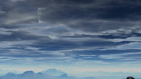 Huge planet appears from behind the clouds Stock Video Footage