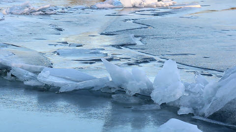Piled Ice At A Crack On Ice stock footage
