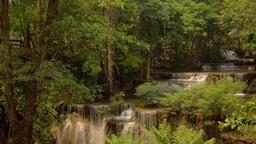 Water Cascading Down A Waterfall in Kanchanaburi,  Footage