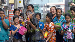 Group Of Thai Children Enjoying The Water Fight Du stock footage