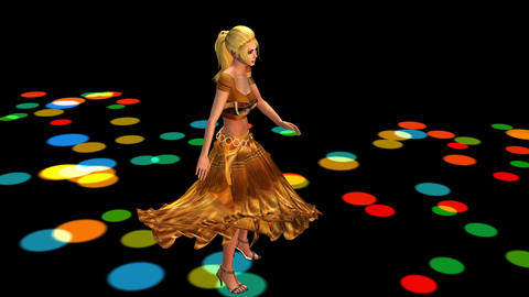 Dancer Dancing Merrily On Dance Floor.dress&gold S stock footage