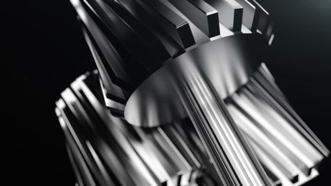 Close-up In Metallic Gears Rotating stock footage