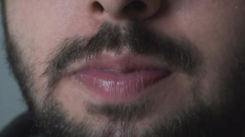 Mouth Detail Of A Man Eating Chocolate Chip Cereal Footage