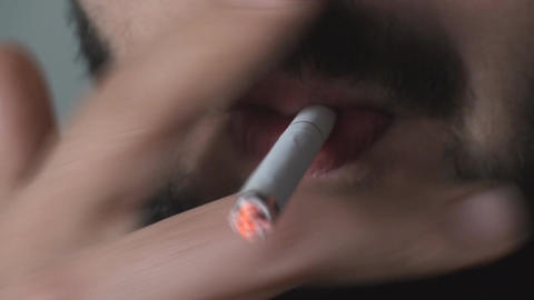Mouth Detail Of A Male Lighting Up A Cigarette Clo Footage