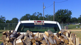 Rick Of Firewood In Bed Of Pickup Truck stock footage