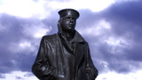 Sailor Looking Out To Sea Statue- Front stock footage