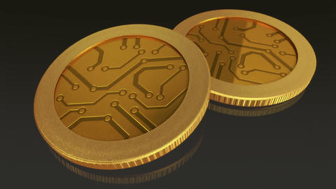digital gold coins pan Animation