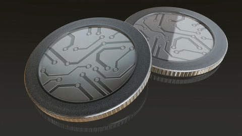 digital silver coins pan Animation