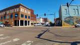 Small Town Main Street Intersection Shawnee OK stock footage