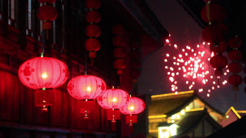 Red Asian Lanterns stock footage