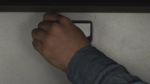 Man Using Key To Unlock Workstation Case Footage