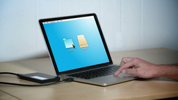 Backup A Laptop stock footage