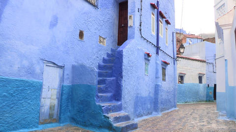 FT 0049 Rainy Blue Alley In Chefchaouen 24 P Aud P Footage