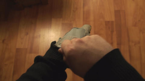 Man Putting On Gym Gloves Point Of View Live Action