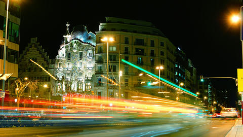 Casa Batllo with traffic cars in Barcelona Footage