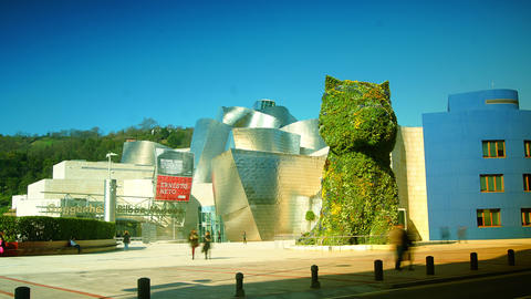 Guggenheim Museum and Puppy sculpture,time lapse,4 Live Action
