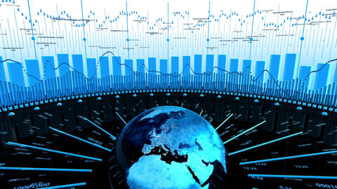 World Stock Market Business Data Animation