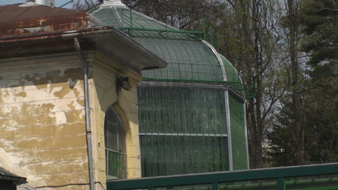 Old Abandoned Green House Old, Destroyed, Rust Zoo stock footage
