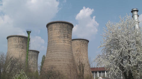 Abandoned Power Plant, Industrial, Pollution, Chim stock footage