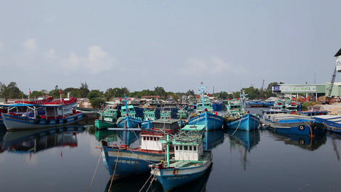 Panorama From The Shore Fishing Village. Vietnam stock footage
