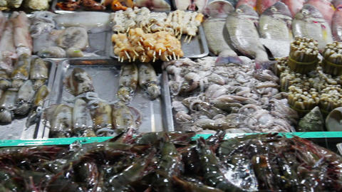 Camera moves on the table with sea food Footage